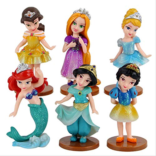 GYINK 6Pcs/Snow White Princess Figure Toys Tangled Mermaid Pvc Decoration Dolls 8.5-9.5Cm