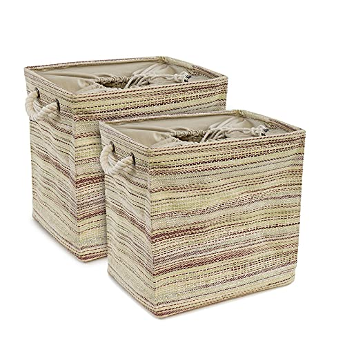 HOME VIBES Premium 32 LTR Storage Basket with Lid for Wardrobe Laundry Clothes Kids Toys Baby Nursery Gift Hamper Shopping Car   Woven Cotton Fabric with Rope Handle   Foldable & Waterproof, Pack 2