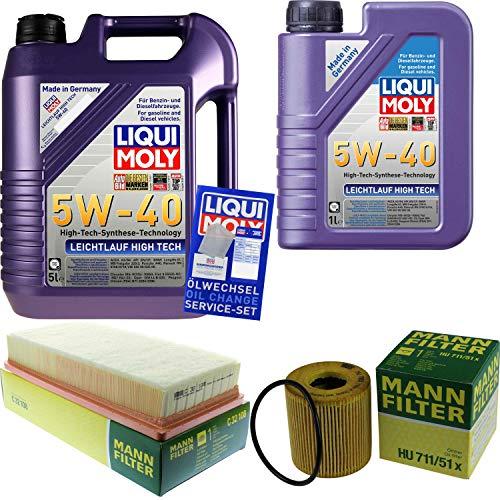 Filter Set Inspektionspaket 6 Liter Liqui Moly Motoröl Leichtlauf High Tech 5W-40 MANN-FILTER Luftfilter Ölfilter