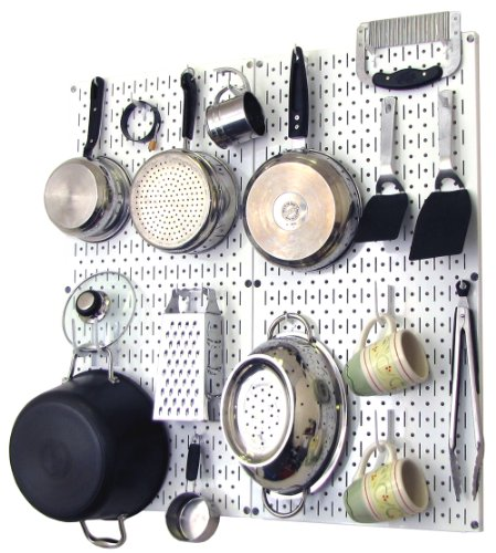 Wall Control Kitchen Pegboard Organizer Pots and Pans Pegboard Pack Storage and Organization Kit with White Pegboard and White Accessories