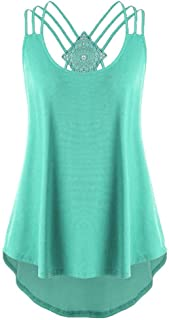 Women Camisole Sexy Ladies Summer Sleeveless Lace Stitching Cutwork Lace Trim Ombre Tank Top Casual Loose Blouse