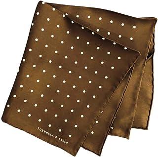 ポケットチーフ シルクチーフ メンズ 紳士 英国製 Silk ターンブル&アッサー Turnbull&Asser 大判 Brown/White Dot Size42x42cm C010