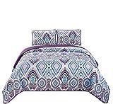 Fancy Linen 3-teiliges Tagesdecken-Set, Übergröße, Violett/Lavendel / Blau/Grau / Weiß Full/Queen