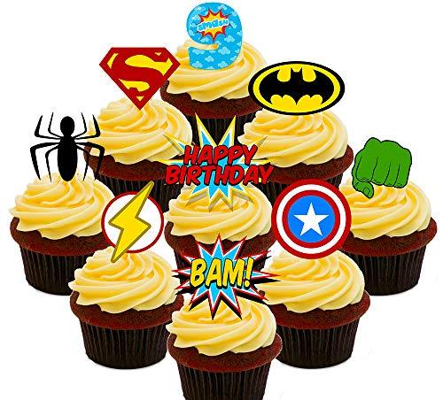Made4You 9e verjaardag Superhero eetbare cupcake toppers - stand-up Wafer taart decoraties