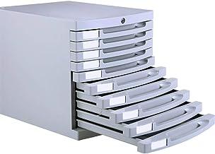10-Layer File Cabinet, Lockable Filling Cabinet Desktop Storage Cabinet Drawer Cabinet Office File Classification Storage ...