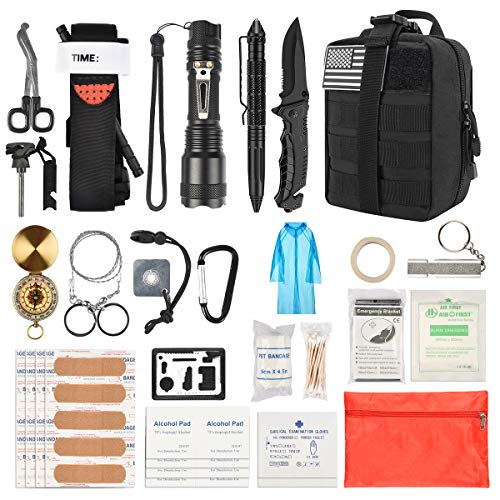 Brightify Emergency Survival Kit, Tactical First Aid Kit, Survival Gear Tools with Molle Pouch for Hiking Camping and Hunting