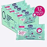 Chicco Toallitas 12 Packs de 60 unidades con 720 toallitas Natural Sensation - Limpian e hidratan la piel del bebé, Sin alcohol ni jabón, Flor de Loto