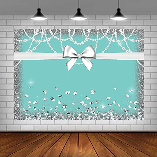 Breakfast Blue White Bowknot Diamond Birthday Photo Backdrops Glitter Sweet 16 Turquoise Photography Background Baby Shower Bridal Shower Wedding Party Decorations Banner