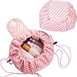 Magic Cosmetic Pouch Bag, Lazy Drawstring Cosmetic Bag,Fashion Portable Organizer & Toiletry Bag for Travel, Gifts,Large Capacity Makeup Bag for Ladies Girls (A)