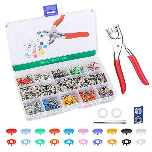 Jooheli - 200 sets de botones de presión con pinzas, 9,5 mm, botones de metal, 10 colores, para manualidades, para bebé, niños, tejido de jersey, ropa de bolsillo, hechas a mano, reparar pegado