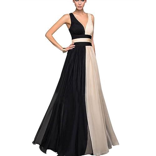 ba67a87153 Mujer V Cuello Sin Mangas Cintura Alta Novia Bodas Elegante Vestidos Largos