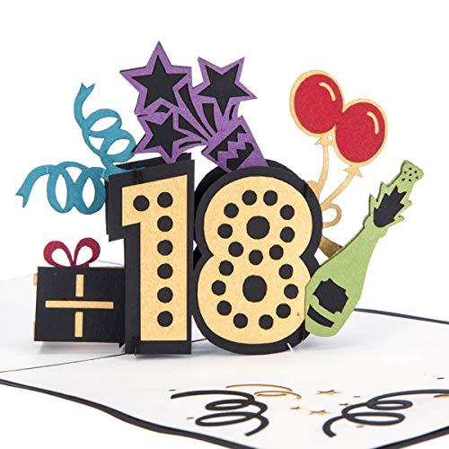 Cardology Pop-Up-Karte zum 18. Geburtstag, Geburtstagskarte für Ihn, Geburtstagskarte für Sie, Geschenk zum 18. Geburtstag, handgefertigte 3D-Karten