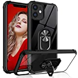 Tuerdan Case with Ring Holder Designed for iPhone 12 Case, Designed for iPhone 12 Pro (6.1'') 5G 2020, Military Grade Clear Crystal Shockproof Phone Case with Magnetic Car Mount Ring Kickstand, Black
