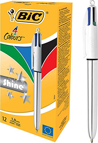 BIC 919380 4 colores Shine bolígrafos Retráctiles punta media (1,0 mm) – diseño metalizado Plata, Caja de 12 unidades