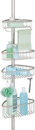 mDesign étagère de douche – serviteur de bain en métal, montage sans perçage – valet de douche idéal pour le shampooing, les rasoirs, les éponges, etc. – argenté