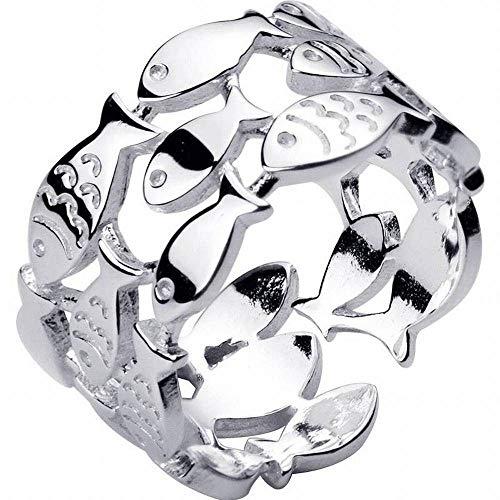 Katylen S925 Silberring Weiblicher Süßer Dreischichtiger Kleiner Fischring Offen Ring Zeigefingerring, Silber, Öffnung einstellbar