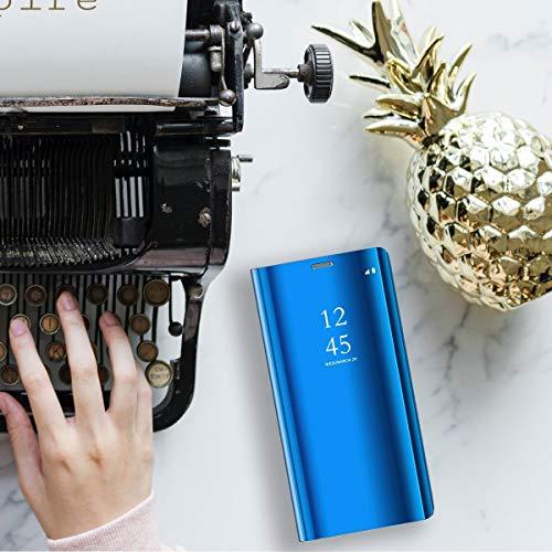 ompatibel mit Huawei Honor 10 Hülle, Handy Schutzhülle für Huawei Honor 10 Spiegel Hülle Flip Folio Case [Standfunktion] Dünn Clear View PC Plastik Anti-Scratch Hard Cover (Blau, Huawei Honor 10) - 2