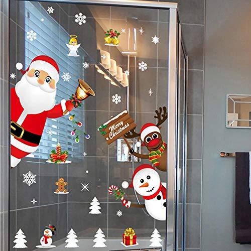 lossomly Adhesivo decorativo para pared, diseño de Papá Noel, copos de nieve, adhesivo estático, para puerta corredera, escaparate, pegatina de Navidad, decoración de Navidad