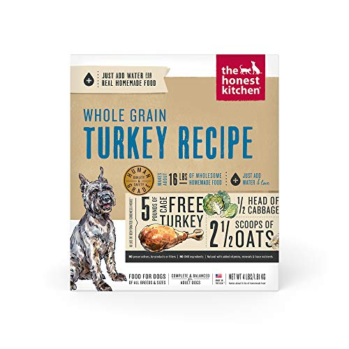 The Honest Kitchen Human Grade Dehydrated Whole Grain Dog Food – Complete Meal or Dog Food Topper – Turkey 4 lb (makes 16 lbs)