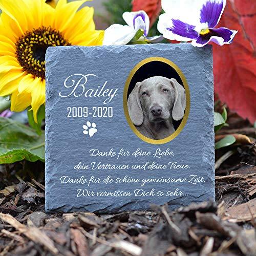 TULLUN Individueller Personalisiert Tiergrabstein Schiefer Gedenkstein für Hund, Katze und andere Haustiere - Größe 10 x 10 cm - Foto und Name