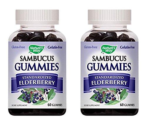 Nature's Way Sambucus Elderberry Gummies, Herbal Supplements with Vitamin C and Zinc, Gluten Free, Vegetarian, 60 Gummies (Packaging May Vary), Pack of 6