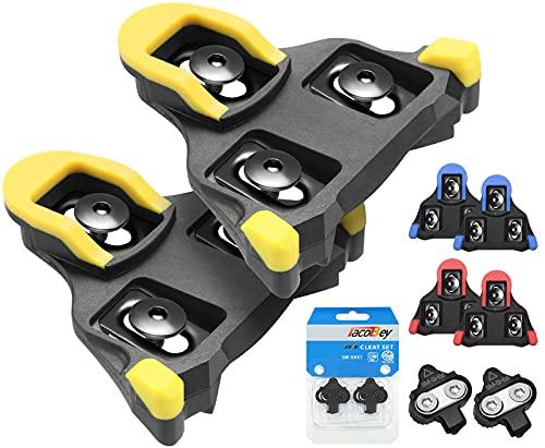 TacoBey - Tacchetti per bicicletta, compatibili con Shimano SPD SL SM-SH, per interni ed esterni, con clip per bici da strada (Giallo -6° flottante)