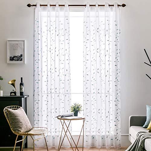 MIULEE Vorhang Voile Blumen Stickerei Vorhänge mit Ösen transparent Gardine 2 Stücke Ösenvorhang Gaze paarig schals Fensterschal für Wohnzimmer Schlafzimmer 225 cm x 140 cm(H x B) 2er-Set