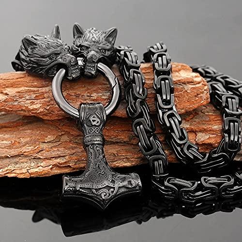 Nórdico Amuleto Joyas Martillo De Thor Mjolnir Colgante Vikingos Collar Hombres Bizantino Lobo Rey Cadena Clásico Hecho A Mano Escandinavo Acero Inoxidable Regalo,60 Cm (23.6 In) Chain