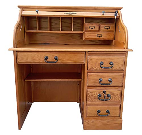 Small Roll Top Desk for Home Office Or Student Solid Oak Wood Single Pedestal 42Wx24Dx45H Harvest Stain Quality Crafted Construction Locking File Drawers Dovetailed Secretary Desk Easy Assembly