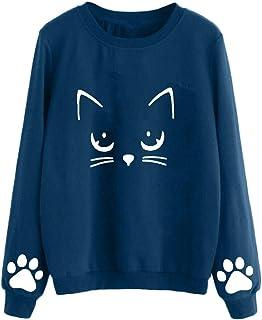 Sudadera Mujer Gato Camiseta Blusa de Otoño e Invierno de Manga Larga con Cuello Redondo Sudaderas Mujer Invierno Tumblr y...