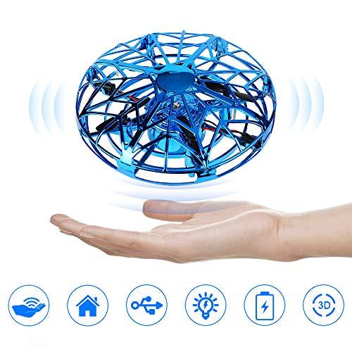 Sylanda Mini Drohne für Kinder, UFO Mini Flugspielzeug Drohne RC Fliegender Ball Handgesteuerter Hubschrauber Quadrocopter mit LED Licht Infrarot Induktions Flying Ball für Jungen Mädchen