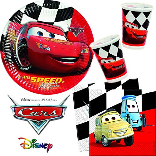 Procos/Carpeta 85-TLG. Party-Set * Cars RED * für Kindergeburtstag und Motto-Party | Teller + Becher + Servietten + Deko | Kinder Geburtstag Disney Rennautos Auto