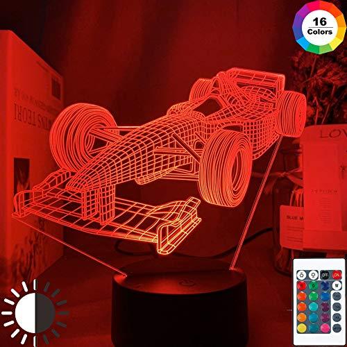 KangYD 3D Nachtlicht F1 Formel 1 Rennwagen, LED Optische Täuschungslampe, E - Alarm Clock Base (7 Farbe), Office Decor Lampe, Stimmungslampe, Kreatives Licht, Nachttischlampe