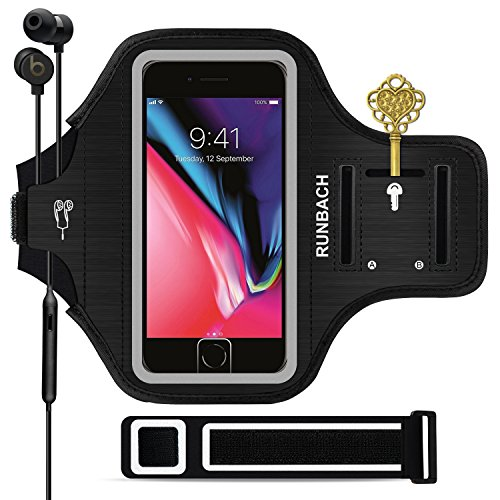 RUNBACH iPhone 8 Plus Armband, Sweatproof Running Exercise Gym Fitness Cellphone Sportband Bag with [ Fingerprint Touch ][ Key Holder ][ Card Slot ] for iPhone 7 Plus 6 6s Plus (Black)
