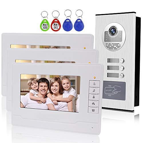 """KDL Heimat 7"""" RFID Video Türklingel Intercom Türsprechanlage 3 Monitore mit 1 IR-Kamera Nachtsicht 800x480 Hohe Auflösung für Multi Apartments/Familien"""