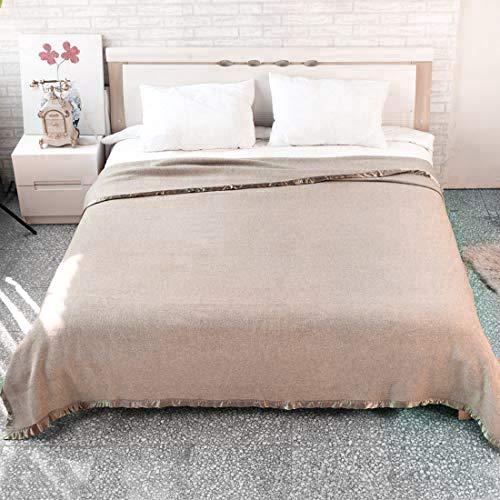 King Sixe Wool Blanket Beige Herringbone Blanket Large Wool Blankets for Bed