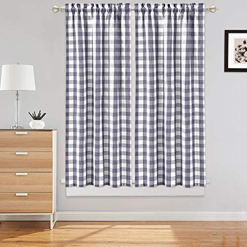 LinTimes Plaid Gingham Tier Cortinas, Buffalo Check Rod Pocket Cortinas de Ventana Cortas para Kitchen Cafe Cortinas Baño Cortinas de Ventana, 2 Paneles, Gris, 45 Pulgadas