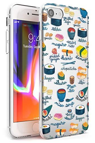 Hülle Warehouse Beschriftete Japanische Küche Sushi-Mix Slim Hülle kompatibel mit iPhone 7 Plus TPU Schutz Light Phone Tasche mit Transparent Japanisch Lebensmittel