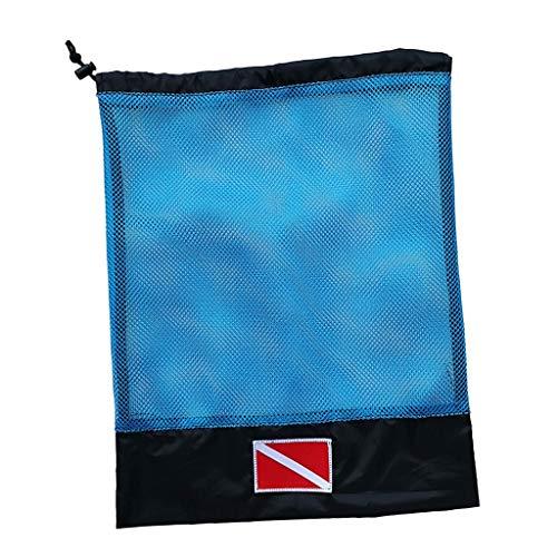 IPOTCH Mesh Zeug Sack Aufbewahrungstasche Netztasche Netzbeutel für Tauchen Schnorcheln Schwimmen Ausrüstung - Blau