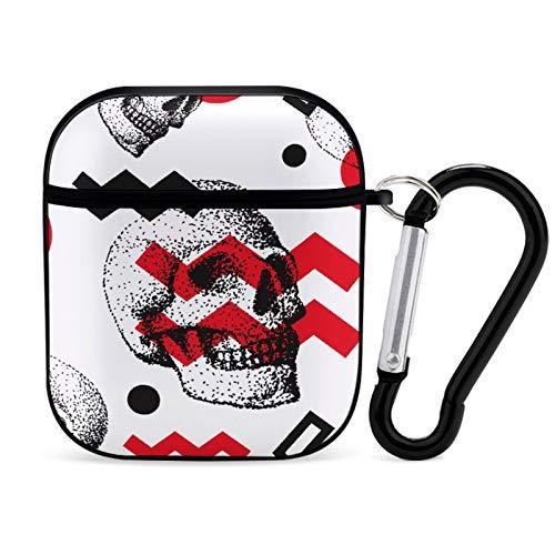 Funda Protectora para AirPods, Skull Head Print Apple Bluetooth Headset Cover A Prueba de Golpes Antiarañazos Compatible para Airpods 1st / 2nd para Hombres Mujeres