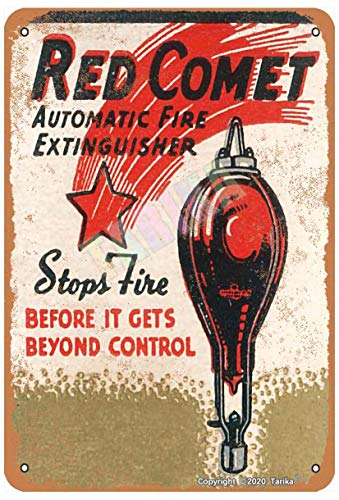 Red Comet Automatic Fire Extinguisher 8X12 Inch Metal Retro Look Decoration Painting Sign for Home Kitchen Bathroom Farm Garden Garage Funny Wall Decor