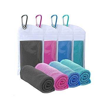 Lot de 4 serviettes rafraîchissantes (101,6 x 30,5 cm) - Douces et respirantes - En microfibre - Pour le sport, la course, la gym, l'entraînement, le camping, le fitness, l'entraînement de yoga