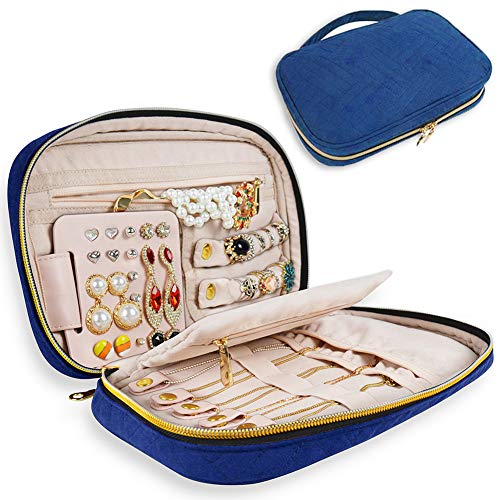GANAMODA Jewelry Travel Organizer Bag, Portable Traveling Jewelry Case for Earrings, Necklace, Rings, Watch, Bracelets, Soft Padded for Protection, Blue