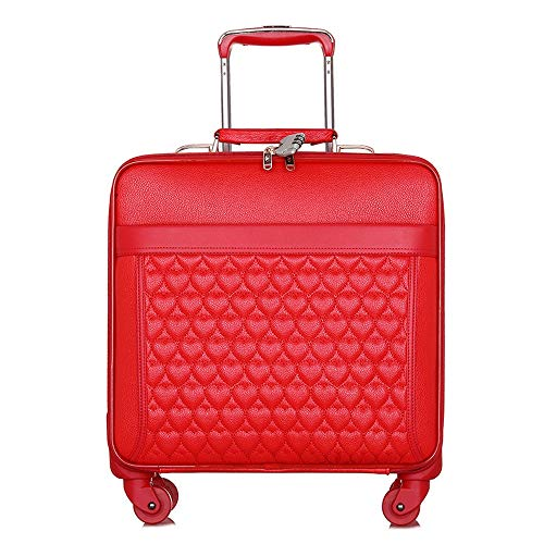 Ang-xj Travel red lady boarding case wedding festive bow tie dowry box fashion peach heart suitcase waterproof,breathable,anti-theft,wear-resistant,lightening,shipping box