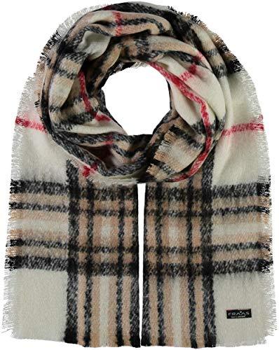 FRAAS Damen-Schal kariert aus Cashmink® - 35 x 200 cm - Made in Germany - Elegante karierte Stola - Hochwertiger Winter-Schal - Stilvolles Plaid mit Muster Naturweiß