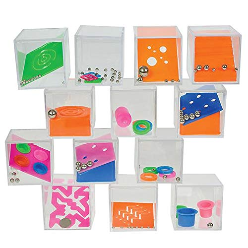 Gamie Brain Teaser Puzzles for Kids, Pack of 12, Mini 1.5 Inch Maze Puzzle Cubes in Assorted Designs, Fun Road Trip Toys, Birthday Party Favors, Stocking Stuffers, Goodie Bag Fillers