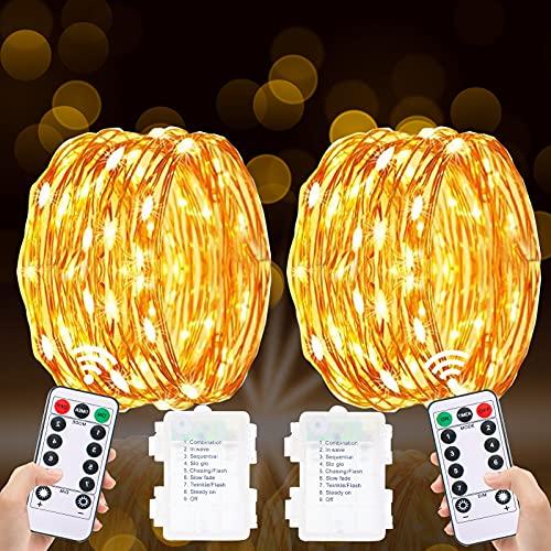 2 x Guirnalda Luces, Luces Led Pilas, Guirnalda Luces Pilas 5M/50 LED Guirnalda Luces Interior Habitacion con Mando Luces Decorativas Habitacion 8 Modos Alambre de Cobre Luces Navidad Para Fiesta