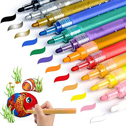 Acrylic Paint Marker Pens, AKARUED Paint Pens For Rock Painting, Ceramic, Stone, Wood, Glass, Fabric, Canvas, Mugs, Plastic, DIY Craft Project Supplies, Set Of 12 Medium Tip