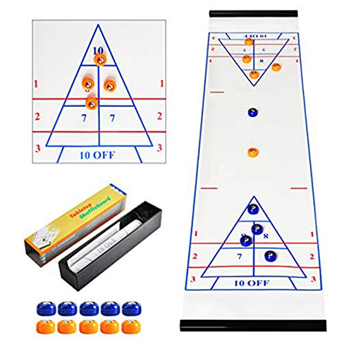 CS COSDDI Shuffleboard Table Game Shuffleboard,Shuffleboard Pucks,Curling Game mit 5 Blauen und 5 Orangen Eishockey