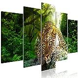 decomonkey Bilder Leopard Tiere 200x100 cm 5 Teilig